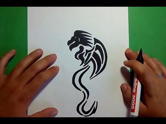 Como dibujar un dragon tribal paso a paso | How to draw a tribal dragon