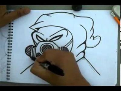 Cómo dibujar un personaje de graffiti con una máscara de gas