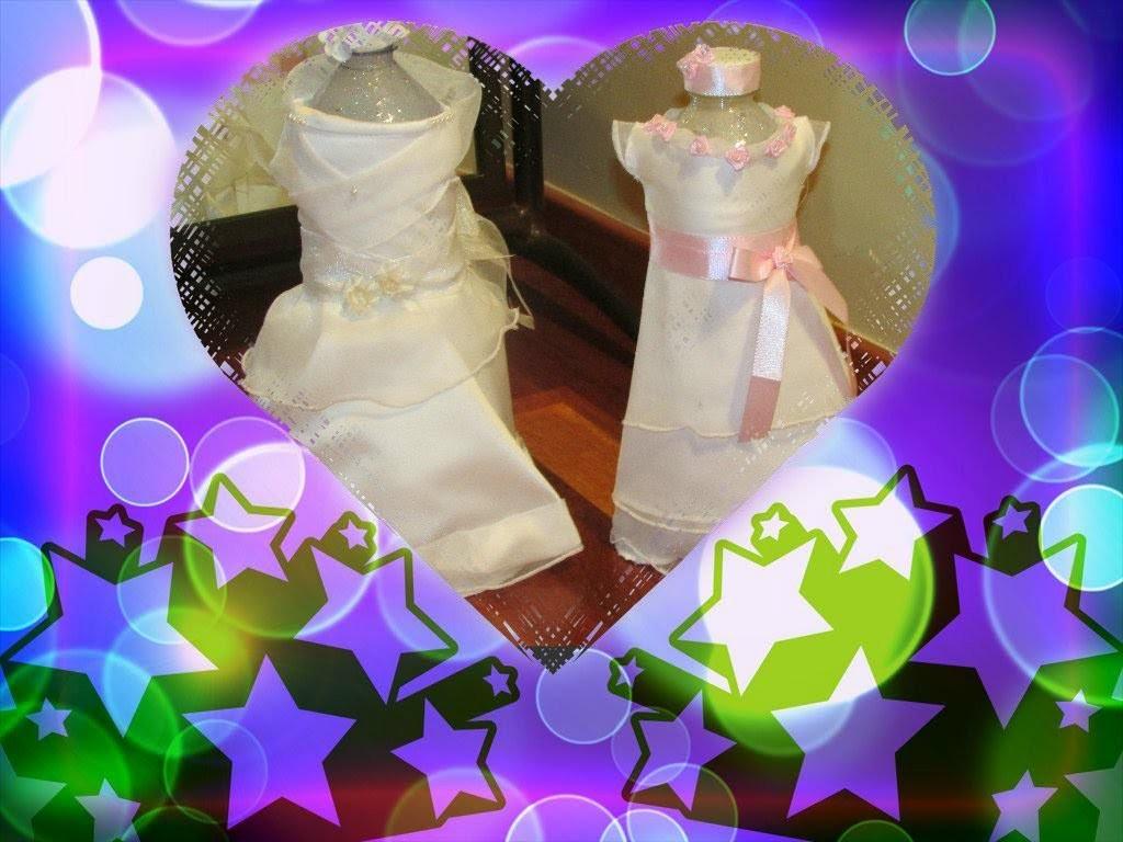 Fofuchas de comunion hechas con botellas de Pet