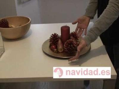 Manualidad navideña: centros de mesa decorativos para Navidad en dorado y rojo