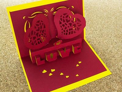Tarjeta Love 3D Pop Up. Enamorados. #SanValentinDePapel ( Remake )