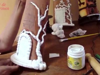 Teja Decorada - Paso 3: Piso, puerta y arbolito en porcelana