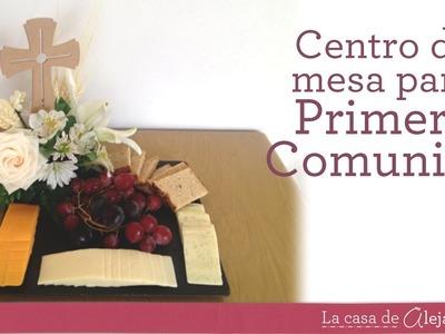 Centro de mesa para Primera Comunión con flores y fruta