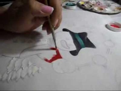 Como Pintar un Muñeco de Nieve en Tela paso a paso