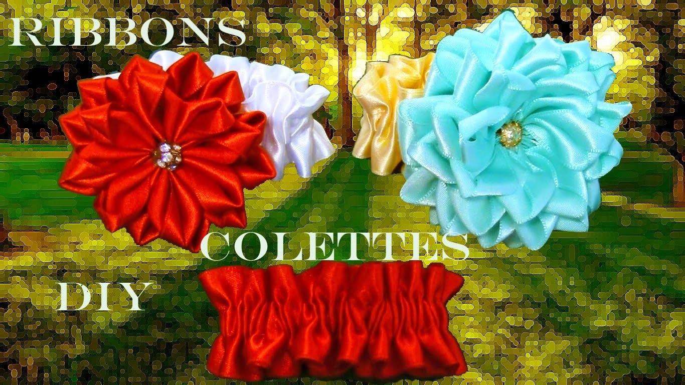 DIY  Kanzashi ligas colettes para flores en cintas - Kanzashi flowers  rubber bands in ribbons