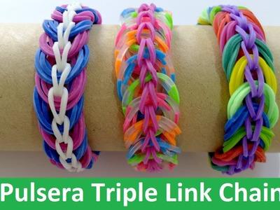 DIY Pulsera de gomitas Triple Link Chain- Rainbow Loom en Español