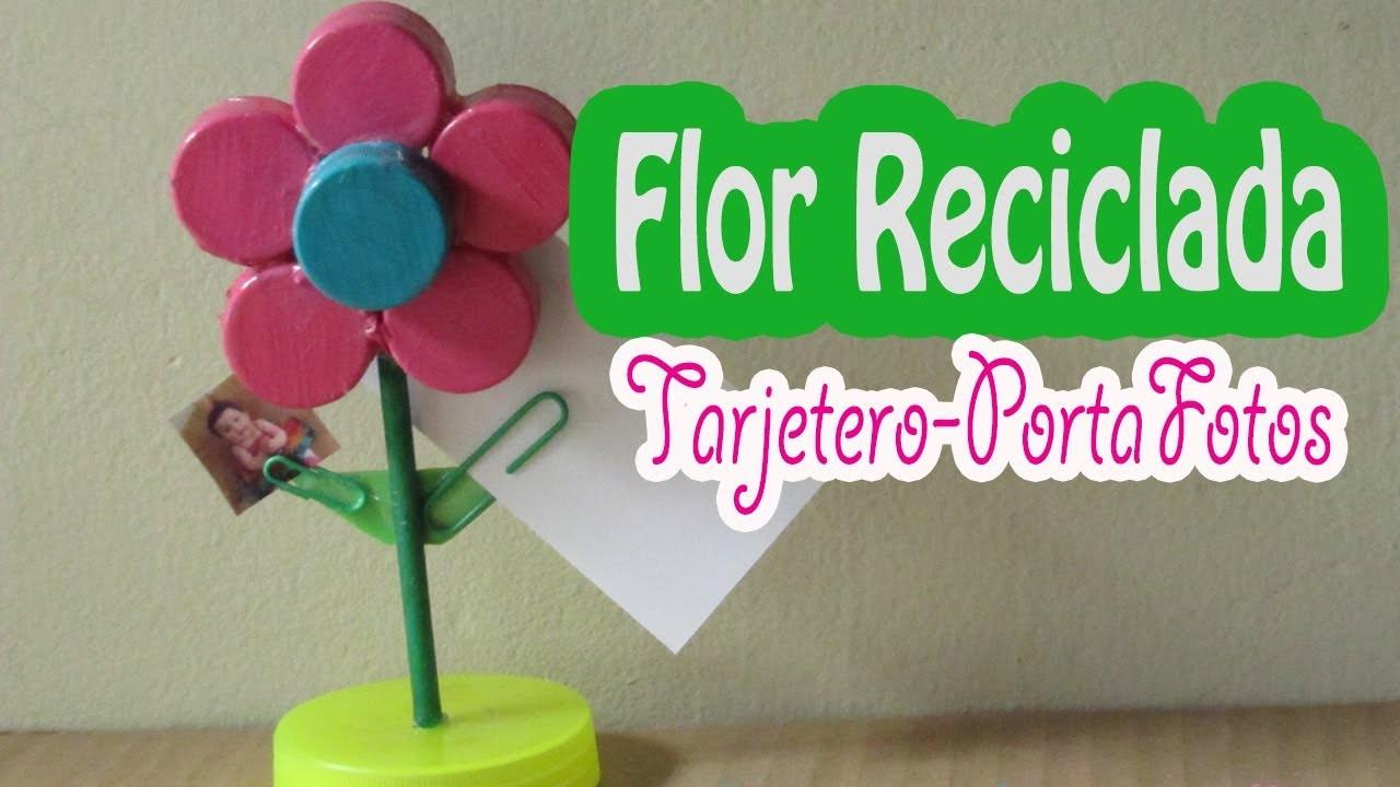 Flor de taparroscas: deco-tarjetero y porta-fotos (como se hace)