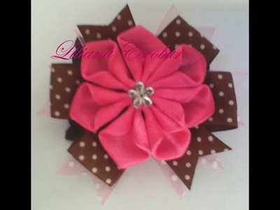 Flor en cinta raso (listón) para diadema, prendedor, hebilla
