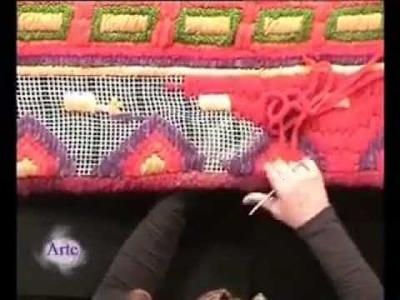 Hilados LHO en ARTEZ TV. Pie de cama en cañamazo.