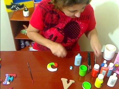 Letras Super Coloridas - Pintura en Madera