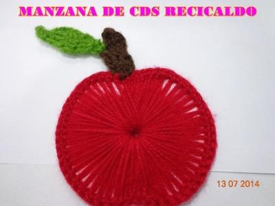 MANZANA DE CDS RECICLADO Y TEJIDO PASO A PASO