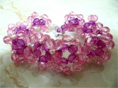 Pulseras flores crespas piedras de cristal