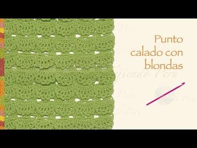 Punto calado con blondas tejido a crochet