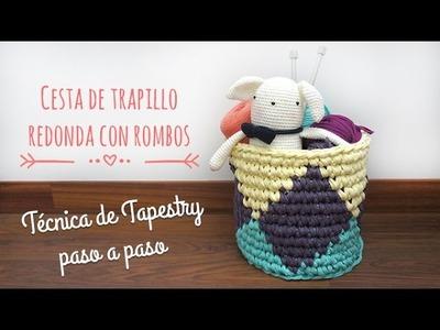 Cesta redonda de trapillo con rombos - Técnica de Tapestry