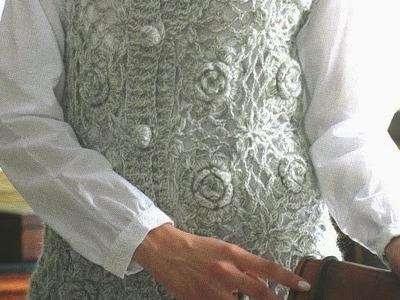 Chaleco Largo Botones  y Flores Tejido a Crochet