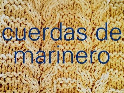 Cómo tejer cuerdas, trenzas, cables, ochos a dos agujas: Punto Cuerdas de Marinero