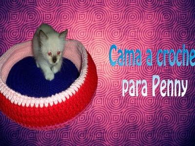 Penny con su nueva cama DIY (crochet)