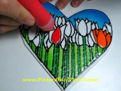 3 San Valentin Falso Vitral Corazon para Pintar 14 de febrero Manualidades Faciles Pintura Facil