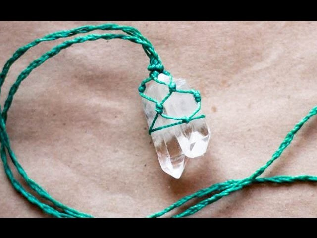 Collar con  cuarzo en macramé how to wrap stone quarz theartemanual