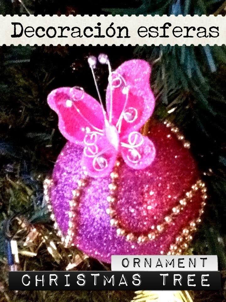 Decoración de esfera Navideña  diamantina y mariposas fácil y rápido CHRISTMAS BALL ORNAMENT
