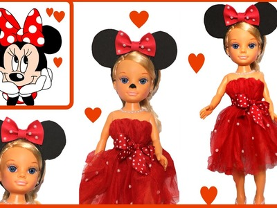 Disfraz de Minnie mouse para niñas y sus muñecas