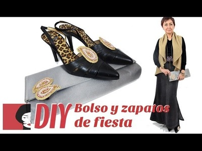 DIY: Bolso y zapatos de fiesta, con un sencillo broche.