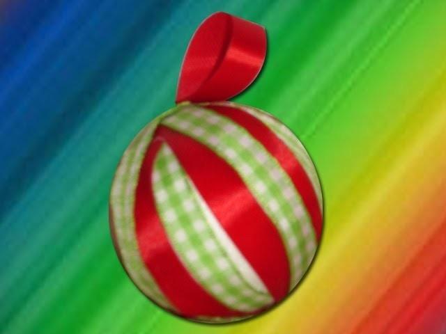 DIY Cómo hacer una esfera navideña decorada con listones