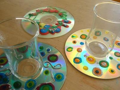Posavasos con CD reciclado. Trabajo manual para niños.