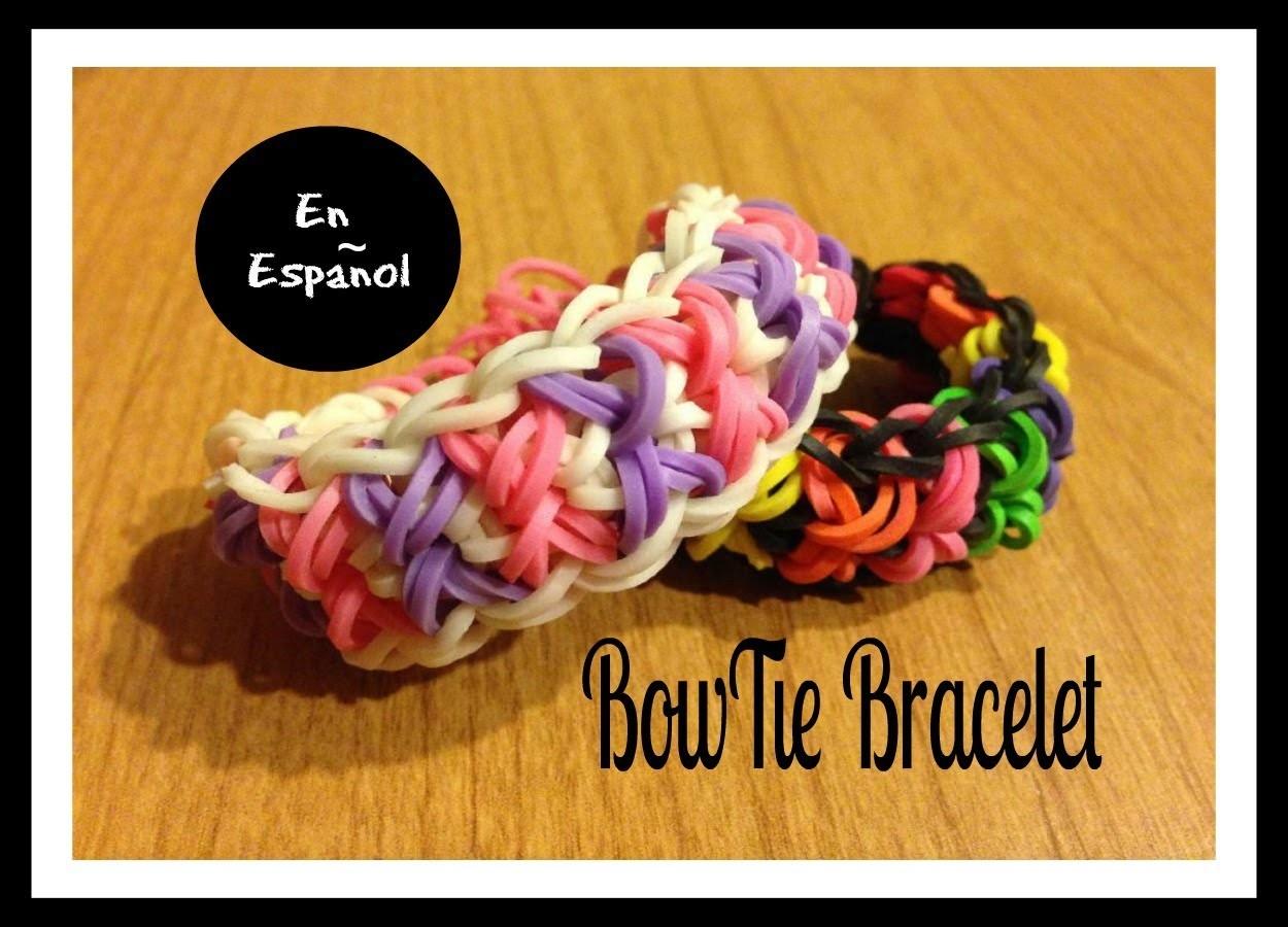 Rainbow Loom en ESPAñOL - Pulsera de Gomita - Bowtie Bracelet - Corbata de Lasos