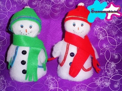 Bolos o dulceros de muñequitos de nieve ☃SUPERMANUALIDADES☃