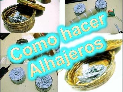 COMO HACER ALHAJEROS CON PERIODICO FACIL RECICLANDO.ELIZABETH M.C