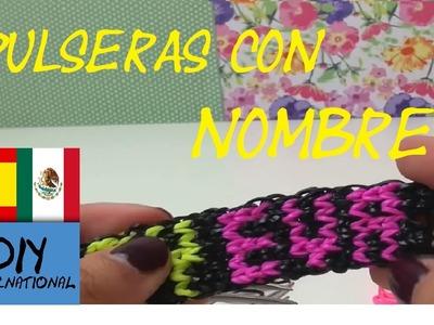 CÓMO HACER PULSERAS DE GOMITAS CON NOMBRES Ó LETRAS - CON TENEDORES - TUTORIAL EN ESPAÑOL - DIY