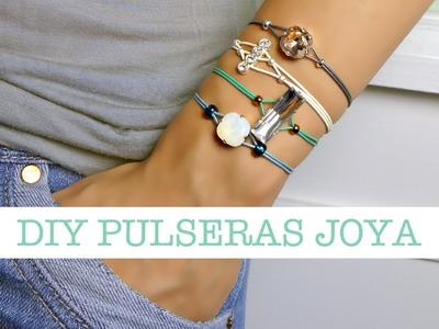 Cómo hacer Pulseras Joya | DIY Rhinestone Cord Bracelet
