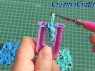 Como hacer una pulsera cadena de nudos con gomitas SIN TELAR. Rainbow Loom bracelet.
