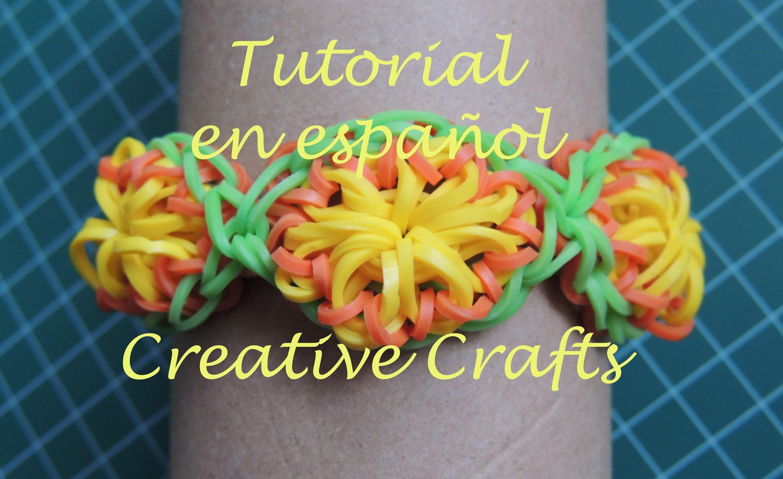 Como hacer una pulsera de Gomitas CITRUS. Rainbow Loom Bracelet Citrus.