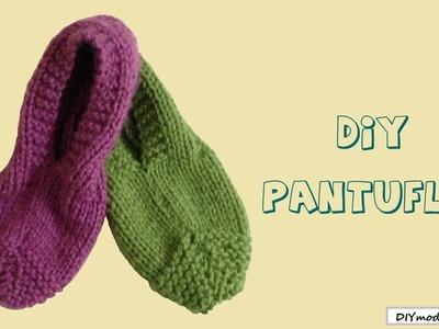 Cómo tejer pantuflas en dos agujas para principiantes