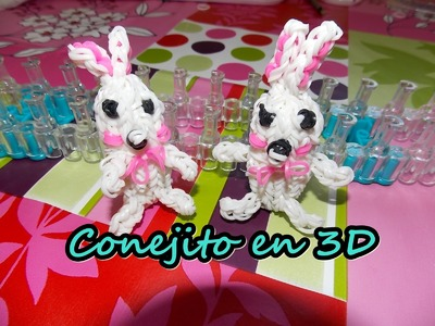 Conejo 3D con telar.rabbit 3D on rainbow loom