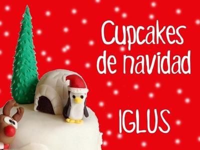 Cupcakes de navidad con fondant: Modelado de Iglús muy fácil.