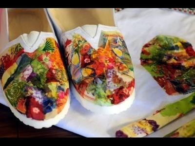 Decoupage - Como aplicar pegamento y servilletas sobre tela - Zapatillas - Gorros - Alpargatas