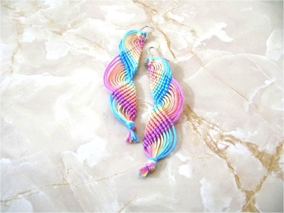 DIY Aretes nudos macramé ondas  arco iris - Earrings DIY macrame knots iris bow airwaves