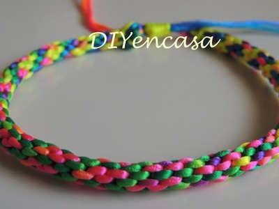 DIY pulsera kumihimo multicolor fluor con nudo corredizo. Bracelet Kumihimo Fluor.