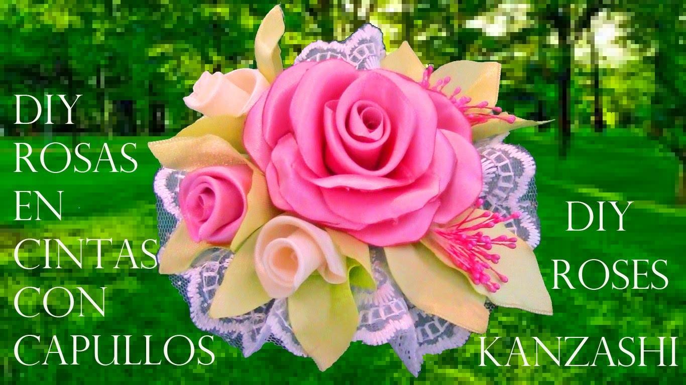 DIY rosas con capullos en flor en cintas - roses with blooming flowers in ribbons