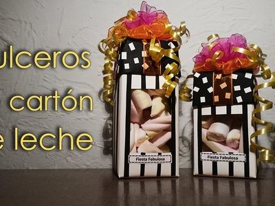 Dulceros para fiestas infantiles. Manualidades con reciclaje (carton de leche).
