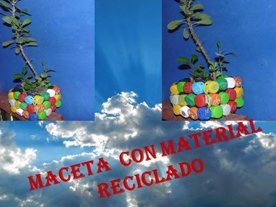 Manualidades con reciclaje - manualidades con tapas recicladas de botellas pet , Maceta