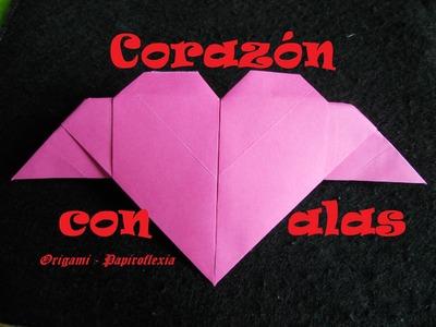 Origami - Papiroflexia. Tutorial: Corazón con alas, fácil y rápido