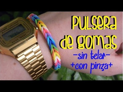 Pulsera arcoiris de gomas sin telar - Rainbow fish tail bracelet