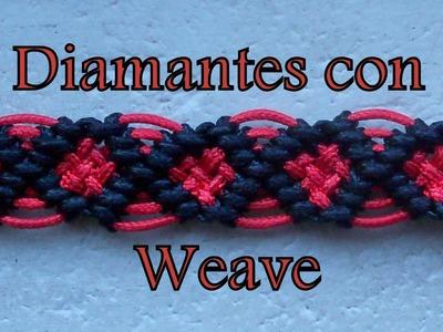 Pulsera de Hilo: Diamantes con Weave esp.PandaHall.com