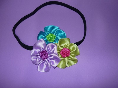 Tutorial moños para niñas  decoradosc con flores pequeñas en cinta de raso  No.112