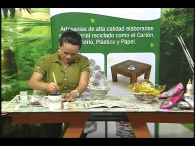 TV RECICLARTE 2 CANASTA EN PAPEL PERIORICO Y ZAPATOS RECICLADOS
