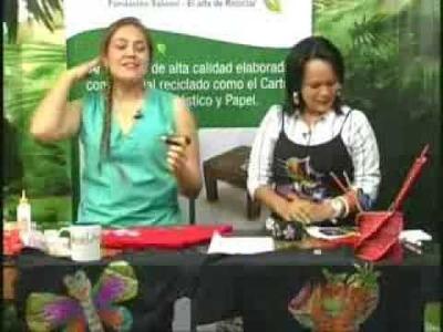 TV RECICLARTE 4 PORTA LAPICEROS Y CAMISA RECICLADOS